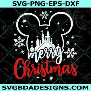 Merry Christmas Disney Svg, Merry Christmas Castle Svg, Disney Xmas Trip Svg, Mickey Head Svg, Cricut, Digital Download