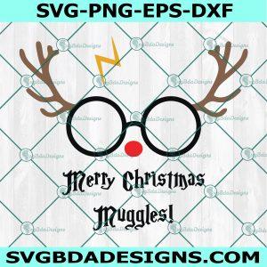 Merry Christmas Muggles SVG, Harry Reindeer SVG, Cute Christmas Wizard SVG, Muggle Christmas Svg, Harry Potter Svg, Cricut, Digital Download