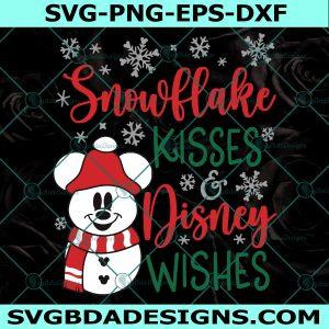 Mickey Snowman SVG, Mickey Christmas Svg, Mickey Snowflake SVG, Snowflake Kisses Christmas Wishes, Merry Christmas svg, Cricut, Digital Download